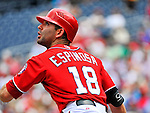 10 July 2011: Washington Nationals second baseman Danny Espinosa in action against the Colorado Rockies at Nationals Park in Washington, District of Columbia. The Nationals shut out the visiting Rockies 2-0 salvaging the last game their 3-game series at home prior to the All-Star break. Mandatory Credit: Ed Wolfstein Photo