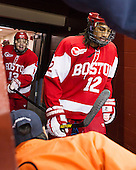 Garrett Noonan (BU - 13), Yasin Ciss&eacute; (BU - 12) - The Boston College Eagles defeated the visiting Boston University Terriers 5-2 on Saturday, December 1, 2012, at Kelley Rink in Conte Forum in Chestnut Hill, Massachusetts.