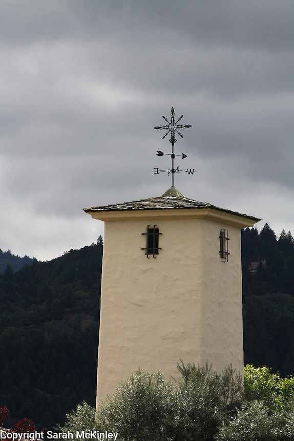 The weathervane-topped tower at Robart Mondavi Vineyard in Oakville in Napa County in Northern California.