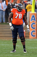 CHARLOTTESVILLE, VA- NOVEMBER 12: Offensive tackle Morgan Moses #78 of the Virginia Cavaliers during the game on November 28, 2011 at Scott Stadium in Charlottesville, Virginia. Virginia Tech defeated Virginia 38-0. (Photo by Andrew Shurtleff/Getty Images) *** Local Caption *** Morgan Moses
