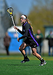 28 April 2012: University at Albany Great Dame midfielder/defender Mel Rorie, a Senior from Lansdale, PA, in action against the University of Vermont Catamounts at Virtue Field in Burlington, Vermont. The Lady Danes defeated the Lady Cats 12-10 in America East Women's Lacrosse. Mandatory Credit: Ed Wolfstein Photo