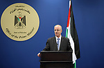 Palestinian Prime Minister Rami Hamdallah speaks during a joint news conference with German Foreign Minister Sigmar Gabriel (unseen), in the West Bank city of Ramallah April 25, 2017. Photo by Prime Minister Office