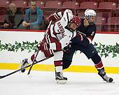 Eddie Ellis (Harvard - 7), Nate Knoepke (NTDP - 5) - The Harvard University Crimson defeated the US National Team Development Program's Under-18 team 5-2 on Saturday, October 8, 2016, at the Bright-Landry Hockey Center in Boston, Massachusetts.