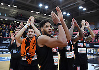 Basketball  1. Bundesliga  2016/2017  Hauptrunde  12. Spieltag  04.12.2016 Walter Tigers Tuebingen - ratiopharm Ulm JUBEL Ulm; Augustine Rubit (Mitte)