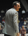 "Arkansas Little Rock head basketball coach Steve Shields receives a technical foul against Mississippi at the C.M. ""Tad"" Smith Coliseum in Oxford, Miss. on Friday, November 16, 2012. (AP Photo/Oxford Eagle, Bruce Newman)"