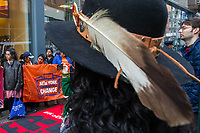 NEW YORK, NY - APRIL 5: Indigenous peoples and Activists begin the overnight camp out in front of the branch on April 5, 2017 in Soho, New York City. Activists are looking to drive mayor Bill De Blasio attention to divest founds from banks like Wells Fargo &amp; Company which has caused controversy for their investment in the Dakota Access Pipeline (DAPL)&mdash;a project that will be constructed through land owned by the Standing Rock Indian Reservation and covers land stretching from North Dakota to central Illinois. Photo by VIEWpress/Eduardo MunozAlvarez<br /> <br /> divest