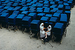 Lourdes, France, 1989, FRANCE-10039. Two nurses take a break.<br />