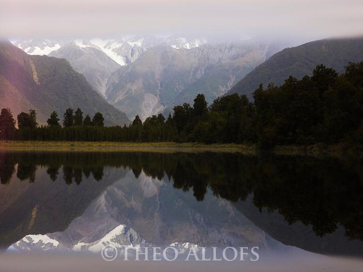 Lake Matheson at dawn, West Coast, South Island, Southern Alps, New Zealand