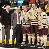 Jerry York (BC - Head Coach), Steve Nazro, Pat Mullane (BC - 11), Patrick Wey (BC - 6), Steven Whitney (BC - 21) - The Boston College Eagles defeated the Northeastern University Huskies 6-3 on Monday, February 11, 2013, at TD Garden in Boston, Massachusetts.