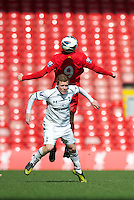 LIVERPOOL, ENGLAND - Easter Monday, April 1, 2013: Tottenham Hotspur's Jack Barthram in action against Liverpool during the Under 21 FA Premier League match at Anfield. (Pic by David Rawcliffe/Propaganda)