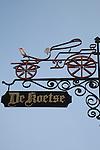 Shop Sign in Bruges, Belgium, Europe