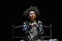 """London, UK. 01.12.2015. """"wonder.land"""", a new musical inspired by Lewis Carroll's """"Alice in Wonderland"""", created by Damon Albarn, Moira Buffini and Rufus Norris, opens at the National Theatre, in the Olivier. Picture shows: Lois Chimimba (Aly). Photograph © Jane Hobson."""