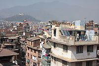 Kathmandu, Nepal.  Looking Over City Rooftops Towards Swayambhunath Temple.