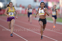 International athletics at Cardiff International stadium, Cardiff, South Wales - Tuesday 15th July 2014<br /> <br /> The U15 Girls 4x100m relay final<br /> <br /> <br /> Photo by Jeff Thomas Photography