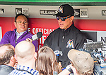 7 April 2016: Miami Marlins Manager Don Mattingly chats with the media in the dugout prior to the Washington Nationals Home Opening Game at Nationals Park in Washington, DC. The Marlins defeated the Nationals 6-4 in their first meeting of the 2016 MLB season. Mandatory Credit: Ed Wolfstein Photo *** RAW (NEF) Image File Available ***