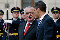 The US President Barack Obama and the Czech President Vaclav Klaus seen during the welcome ceremony at Prague Castle in Prague, Czech Republic, 5 April 2009.