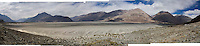 Panoramic scenery of Nubra Valley, Ladakh on 4th June 2009 while driving from Leh town to Hundar, Diskit, Sumur and Panamik. On the way, one drives across the world's highest motorable pass, Khardung La, 5505m. The valley of Ladakh is located in the Indian Himalayas, in the northern state of Jammu and Kashmir. Photo by Suzanne Lee