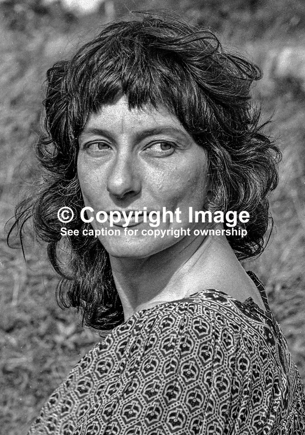 Jenny James, leader of the Screamers, also known as Atlantis Foundation, Atlantis Commune, Atlantis Ecological Community, or Atlantis Primal Therapy Commune. The commune's headquarters was a three-storied house on the outskirts of  Burtonport, Co Donegal, Rep of Ireland. 19790121JJ..Copyright Image from Victor Patterson, 54 Dorchester Park, Belfast, UK, BT9 6RJ..Tel: +44 28 9066 1296.Mob: +44 7802 353836.Voicemail +44 20 8816 7153.Skype: victorpattersonbelfast.Email: victorpatterson@me.com.Email: victorpatterson@ireland.com (back-up)..IMPORTANT: If you wish to use this image or any other of my images please go to www.victorpatterson.com and click on the Terms & Conditions. Then contact me by email or phone with the reference number(s) of the image(s) concerned.