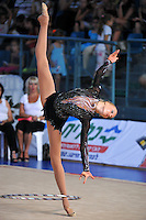 Silija Ahonen of Finland performs with hoop at 2010 Holon Grand Prix at Holon, Israel on September 3, 2010.  (Photo by Tom Theobald).