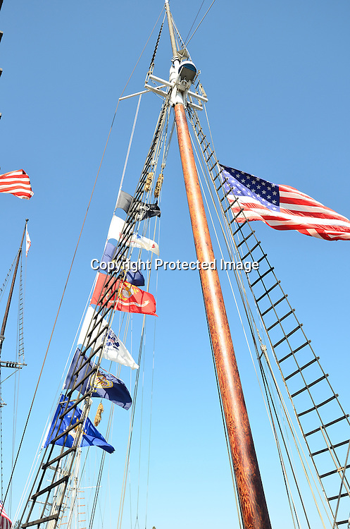 Royalty free stock photo of ships mast and flags