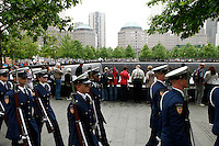 New York, USA. 22nd May, 2014. Members of U.S. Coast Guard Silent Drill Team arrive to the national 9-11 memorial during the Fleet Week in New York.  Kena Betancur/VIEWpress