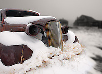 1937 vintage Chevrolet master deluxe coupe covered in snow, Bodie State Historic Park, California, USA