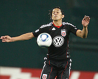 Juan Manuel Pena #3 of D.C. United chests the ball down during an MLS match against the New England Revolution on April 3 2010, at RFK Stadium in Washington D.C.