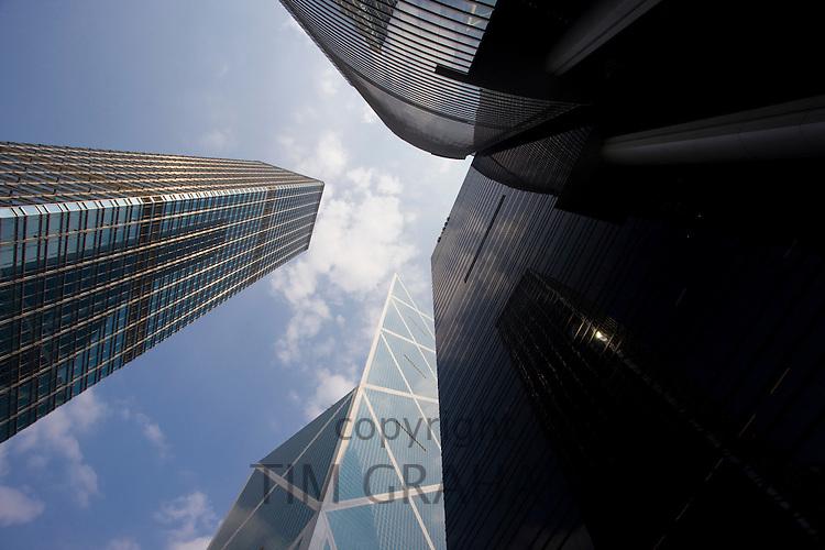Bank of China near ICBC and Citibank towers and Cheung Kong Center, Hong Kong, China