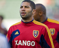 CARSON, CA - June 16, 2012: Real Salt Lake forward Alvaro Saborio (15) before the Chivas USA vs Real Salt Lake match at the Home Depot Center in Carson, California. Final score Real Salt Lake 3, Chivas USA 0.