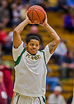 4 February 2014: University of Vermont Catamount Guard Naasir Williams, a Freshman from New York, NY, warms up prior to facing the University of Maine Black Bears at Patrick Gymnasium in Burlington, Vermont. The Cats defeated the Bears 93-65 improving to 9-1 in America East and 15-9 overall. Mandatory Credit: Ed Wolfstein Photo *** RAW (NEF) Image File Available ***
