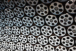 USA, California, Los Angeles. Film Reels line the walls of the Los Angeles Metro pubic transportation.