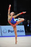 Melitina Staniouta of Belarus performs with rope during Event Finals at 2010 World Cup at Portimao, Portugal on March 14, 2010.  (Photo by Tom Theobald).