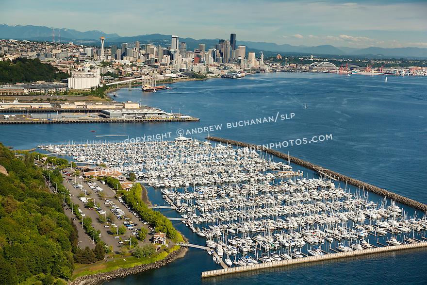 Elliott Bay Marina on Seattle's Elliott Bay, with downtown Seattle skyline and Space Needle behind; Seattle, WA