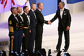 United States President Barack Obama (R) thanks (L-R) Sergeant Major of the Army Raymond Chandler, Sergeant Major of the Marine Corps Micheal Barrett, Master Chief Petty Officer of the Navy Michael Stevens, Chief Master Sergeant of the Air Force James Roy and Master Chief Petty Officer of the Coast Guard Michael Leavitt during the Commander-In-Chief Ball at the Walter Washington Convention Center January 21, 2013 in Washington, DC. President Obama started his second term by taking the Oath of Office earlier in the day during a ceremony on the West Front of the U.S. Capitol.  .Credit: Chip Somodevilla / Pool via CNP