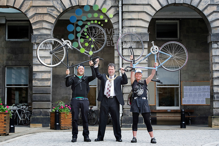Scotland's capital is hosting the 17th European Cycle messenger Championship with over 100 couriers from across Europe and other countries to compete at a variety of venues on 15th to 17th June, Edinburgh, Scotland, 12th june, 2012 . Edinburgh's new Provost, Donald Wilson shows his support for the event, with Richard Backhouse and Eva Ballin..Picture:Scott Taylor Universal News And Sport (Europe) .All pictures must be credited to www.universalnewsandsport.com. (Office)0844 884 51 22.