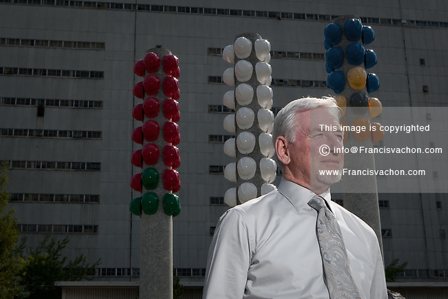 Bernard Coulombe, CEO of Jeffrey Asbestos Mine, poses in front of the company's industrial building in the town of Asbestos, Qc, July 13, 2010. Now operating at a slow pace, the mine might get a loan from the Quebec government to finish the work on the new underground mine.