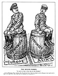 "The Second Barrel. ""So you're to have a front seat, as well, Hirohito!"" [At his Washington Press conference Mr. Churchill said that ""both the Asiatic and the European wars would now be waged with equal force - they would now be concurrent, not consecutive.""] (Hitler and emperor Hirohito sit on barrels of Gunpowder waiting to be lit in Europe and Asia)"