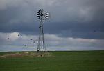 Washington, Eastern, Steptoe, Palouse Region. An old windmill in a field of winter wheat under cloudy skies in spring.