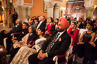 Nik Senapati (2nd from left), Managing Director of Argyle Diamonds, and OzFest ambassador Pallavi Sharda (front row, 4th from left) sits with other VIPs at the front row of the violin recital by Australian violinist Niki Vasilakis at the OzFest Gala Dinner in the Jaipur City Palace, in Rajasthan, India on 10 January 2013. Photo by Suzanne Lee