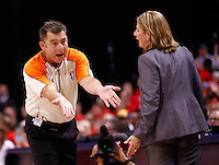 INDIANAPOLIS, IN - OCTOBER 21: A referee instructs head coach Cheryl Reeve of the Minnesota Lynx to back against the Indiana Fever during Game Four of the 2012 WNBA Finals on October 21, 2012 at Bankers Life Fieldhouse in Indianapolis, Indiana. NOTE TO USER: User expressly acknowledges and agrees that, by downloading and or using this Photograph, user is consenting to the terms and conditions of the Getty Images License Agreement. (Photo by Michael Hickey/Getty Images) *** Local Caption *** Cheryl Reeve