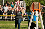 BEACON FALLS,  CT-051917JS12- Wamogo's Mary Wolstencroft competes in the axe throwing competition  during the Axe Games with Woodland Friday at Woodland Regional High School in Beacon Falls.<br />  Jim Shannon Republican-American