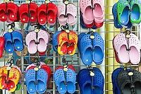 Beach shoes on sale at general store selling seaside products  in Aberdyfi, Aberdovey, Snowdonia, Wales