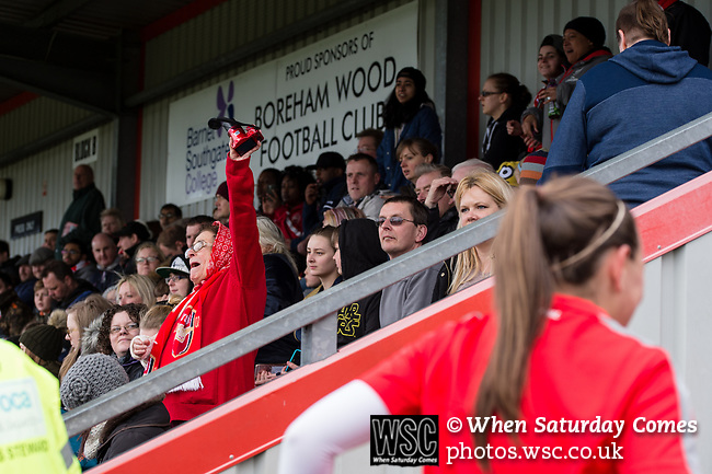 Arsenal Ladies 10 Tottenham Hotspur Ladies 0, 19/03/2017. Meadow Park, SSE FA Cup 5th Round. Cup holders Arsenal Ladies made it through to the quarter-finals of the SSE Women's FA Cup after a 10-0 victory over Tottenham at Meadow Park. Arsenal Ladies are affiliated with Arsenal Football Club. Founded in 1987, they are the most successful club in English women's football having won 43 major trophies to date. Photo by Simon Gill.
