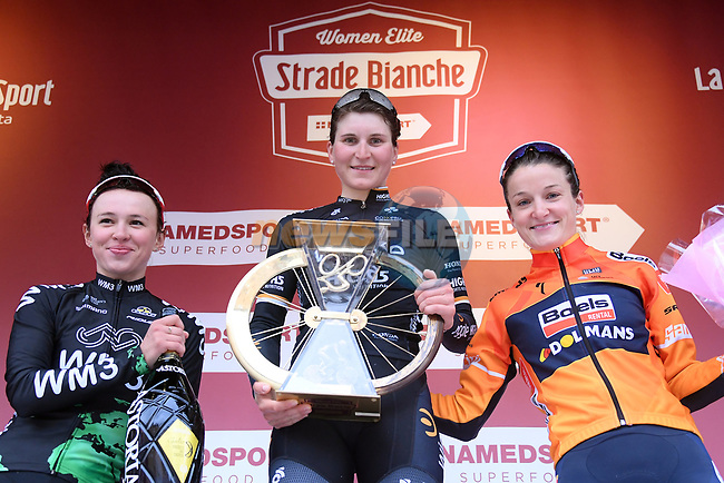 Elisa Longo Borghini (ITA) Wiggle High 5 team wins with Katarzyna Niewadoma WM3 Pro Cycling in 2nd place and Elizabeth Deignan (ENG) Boels-Dolmans 3rd, on the podium at the end of the 2017 Strade Bianche Women Elite race running 127km from Siena to Siena, Tuscany, Italy 4th March 2017.<br /> Picture: LaPresse/Gian Mattia D'Alberto | Newsfile<br /> <br /> <br /> All photos usage must carry mandatory copyright credit (&copy; Newsfile | LaPresse/Gian Mattia D'Alberto)