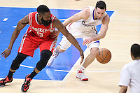 02/22/15 Los Angeles, CA: Houston Rockets guard James Harden #13 and Los Angeles Clippers guard J.J. Redick #4 in action  during an NBA game played at Staples Center.