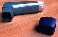 An image of an inhaler. It is used in the treatment of asthma and chronic obstructive pulmonary disease (COPD). Royalty Free