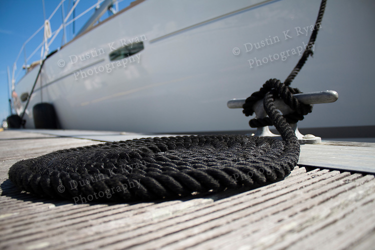 Dock rope coiled sailboat black dock line