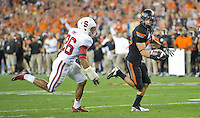 STANFORD, CA - January 2, 2012: Oklahoma State wide receiver Colton Chelf (83) at the Fiesta Bowl at University of Phoenix Stadium in Phoenix, AZ. Final score Oklahoma State wins 41-38.
