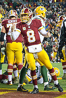 Washington Redskins quarterback Kirk Cousins (8) celebrates Washington Redskins running back Rob Kelley's touchdown in the fourth quarter against the Green Bay Packers at FedEx Field in Landover, Maryland on Sunday, November 20, 2016.  The Redskins won the game 42 - 24.<br /> Credit: Ron Sachs / CNP /MediaPunch