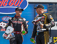 Sep 3, 2016; Clermont, IN, USA; NHRA top fuel driver Steve Torrence (left) and Tony Schumacher during qualifying for the US Nationals at Lucas Oil Raceway. Mandatory Credit: Mark J. Rebilas-USA TODAY Sports